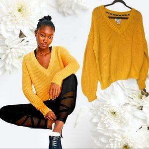 Victoria Secret Pink Fisherman Yellow Sweater Med